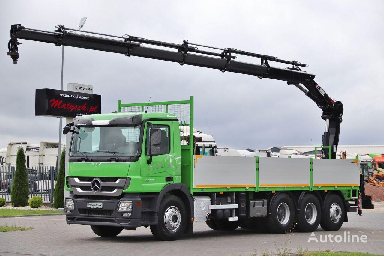 MERCEDES-BENZ ACTROS 3236 / 8X4 / BOX - 7,7 M + CRANE HIAB 166 / RADIO / STEER camión caja abierta