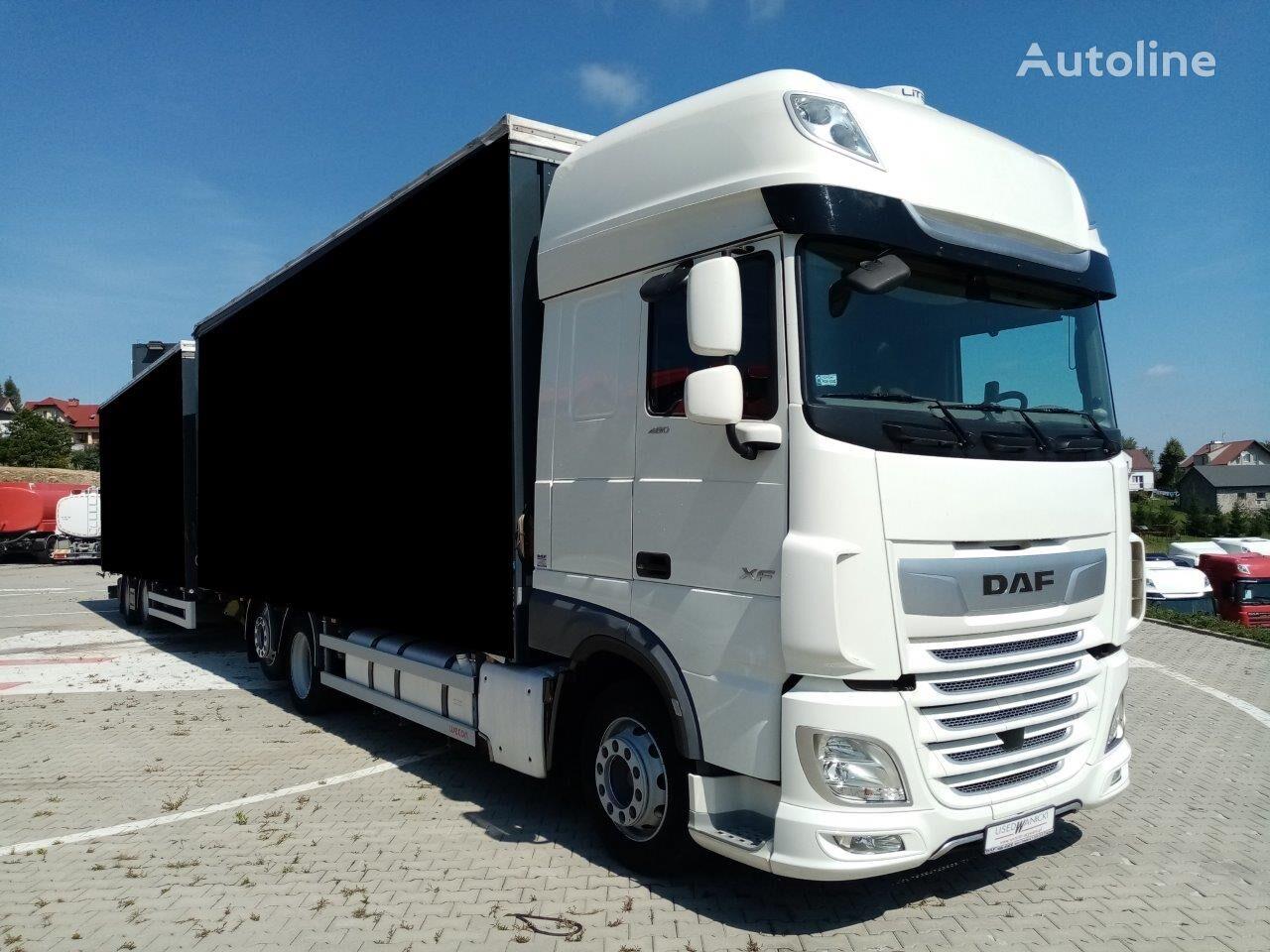 DAF XF 480 FAR WECON camión con lona corredera + remolque con lona corredera