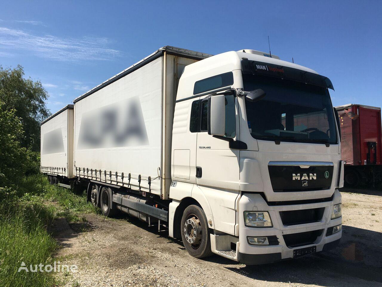MAN TGX 26.440 6x2 XLX BDF Komplett Zug, Österreichische Brief  camión con lona corredera + remolque con lona corredera