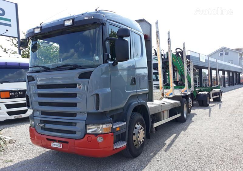 SCANIA R 420 camión maderero + remolque maderero