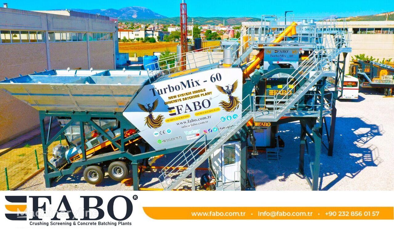 FABO TURBOMIX-60 MOBILE CONCRETE PLANT WITH PRE-FEEDING SYSTEM planta de hormigón nueva