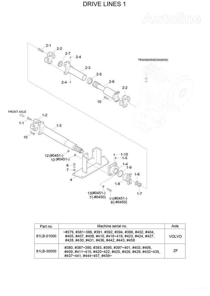 árbol de transmisión HYUNDAI 81LB-30070 (Drive Shaft-Front) para cargadora de ruedas HYUNDAI HL770-7