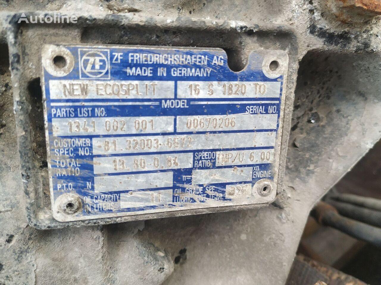 ZF 16S1820 TO caja de cambios para MAN TGA tractora