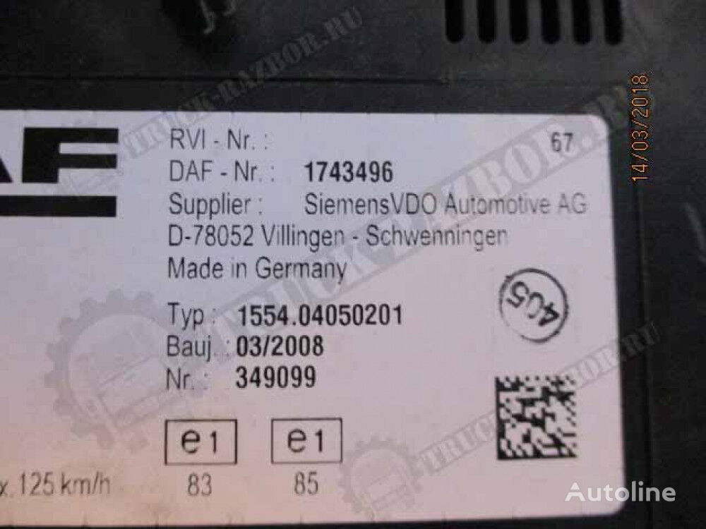 cuadro de instrumentos para DAF tractora