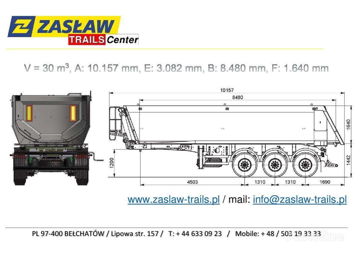 semirremolque volquete ZASLAW TRAILIS 30 m³ naczepa wywrotka Half-Pipe - HARDOX 750 / Strong !!! nuevo